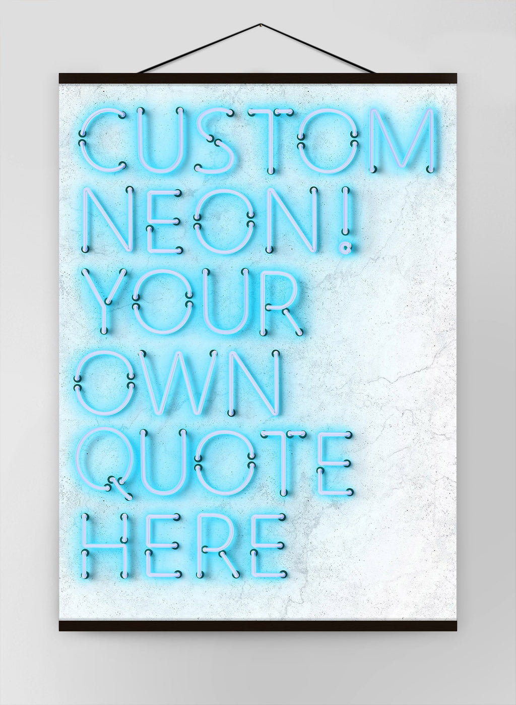 Custom Quote Straight Neon Blue Canvas