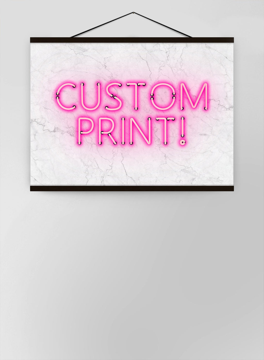 Custom Neon Sign Landscape White Marble Canvas