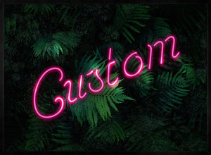 Custom Script Neon Sign Leaves Landscape Print