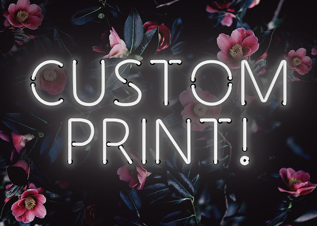 Custom White Neon Sign Floral Background Print