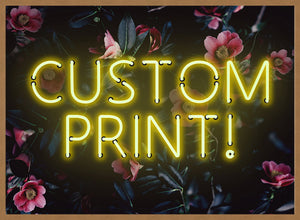 Custom Yellow Neon Sign Floral Background Print