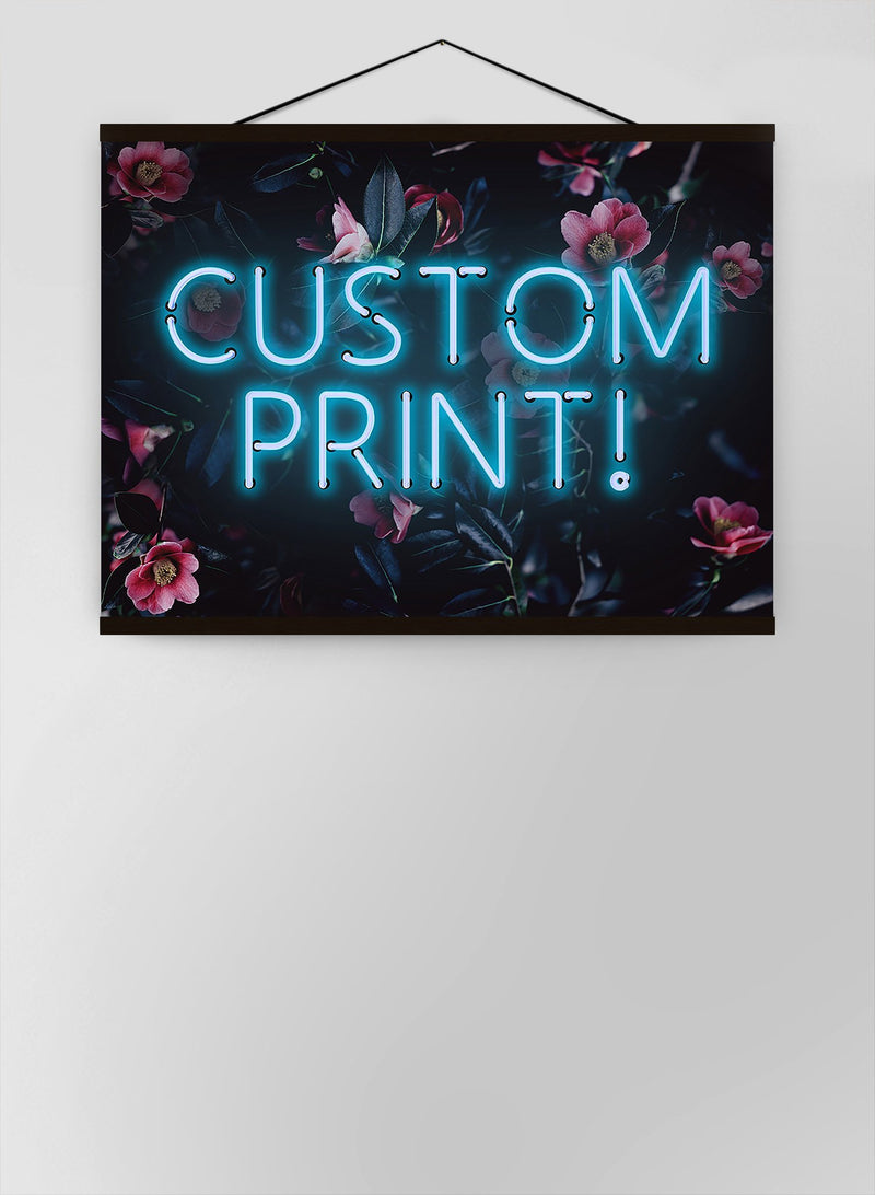 Custom Blue Neon Sign Floral Background Canvas