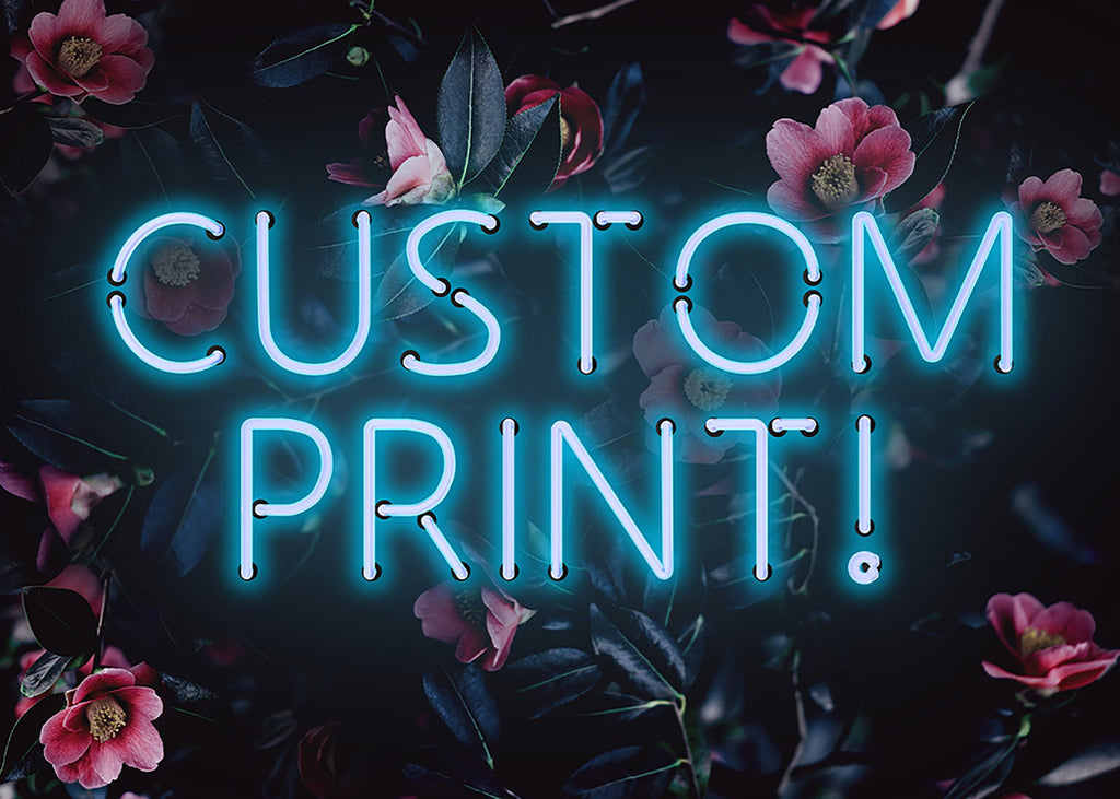 Custom Blue Neon Sign Floral Background Print