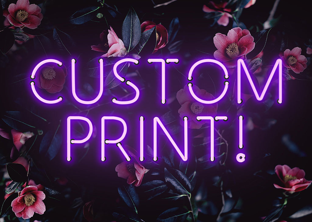 Custom Purple Neon Sign Floral Background Print