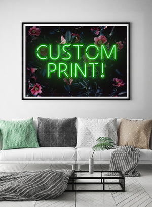 Custom Green Neon Sign Floral Background Print