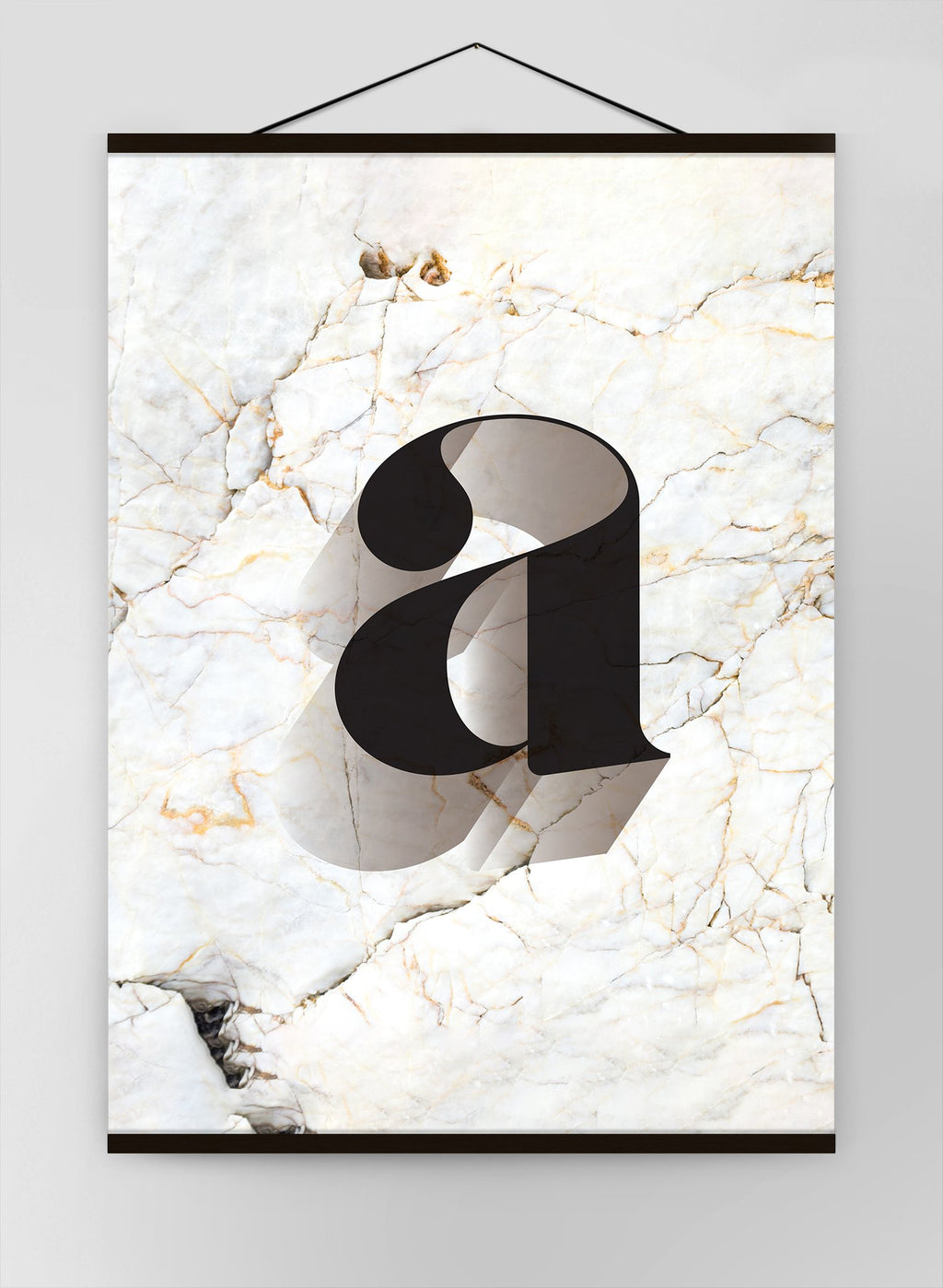 Single Serif Letter Black Marble Canvas