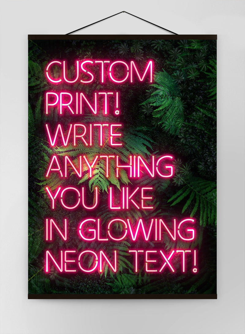 Custom Pink Neon Sign Leaves Background Canvas