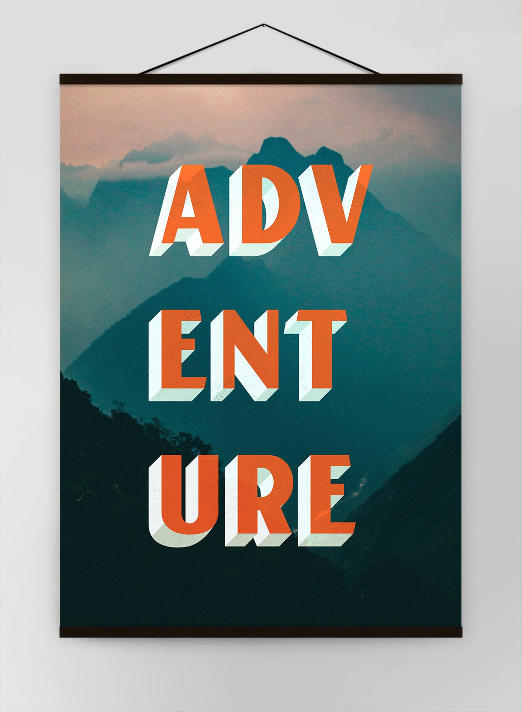 Adventure Typography Mountains Canvas