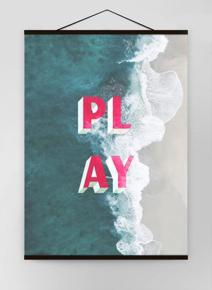 Play Typography Beach Canvas