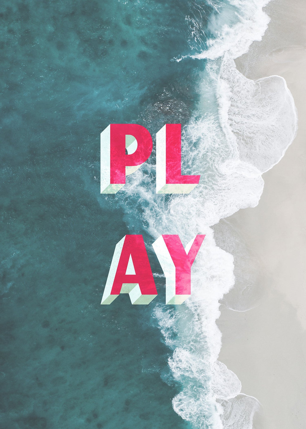Play Typography Beach Print