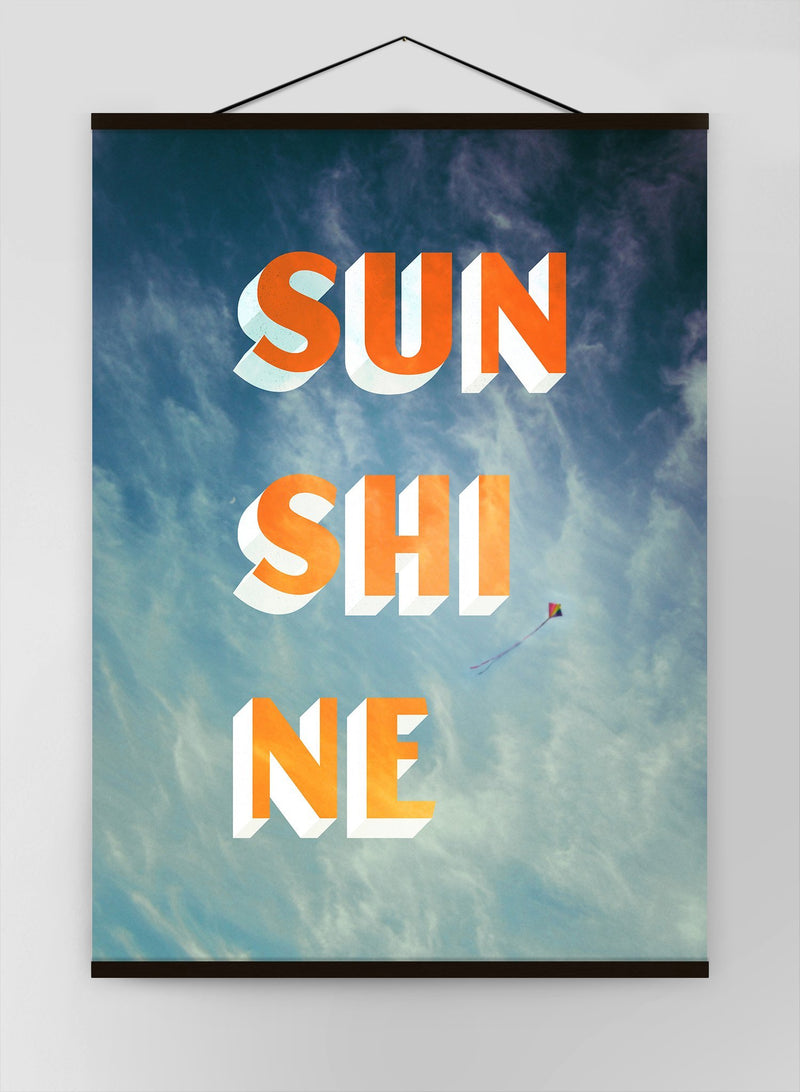 Sunshine Typography Clouds Canvas