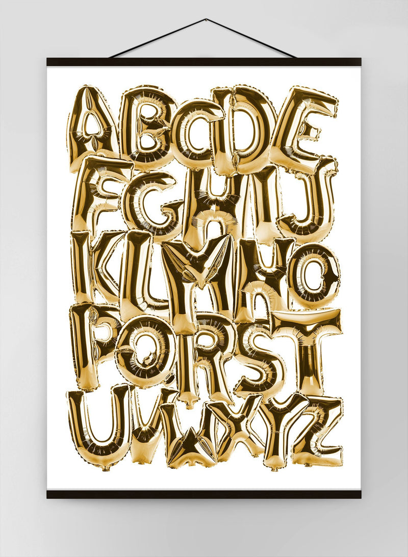 Foil Balloons Alphabet Educational Gold Canvas