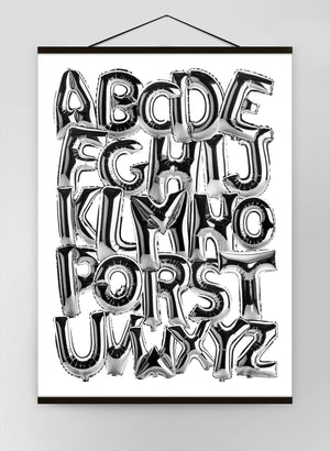 Foil Balloons Alphabet Educational Chrome Silver Canvas