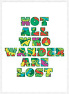 Not All Who Wander Pattern Slogan Print