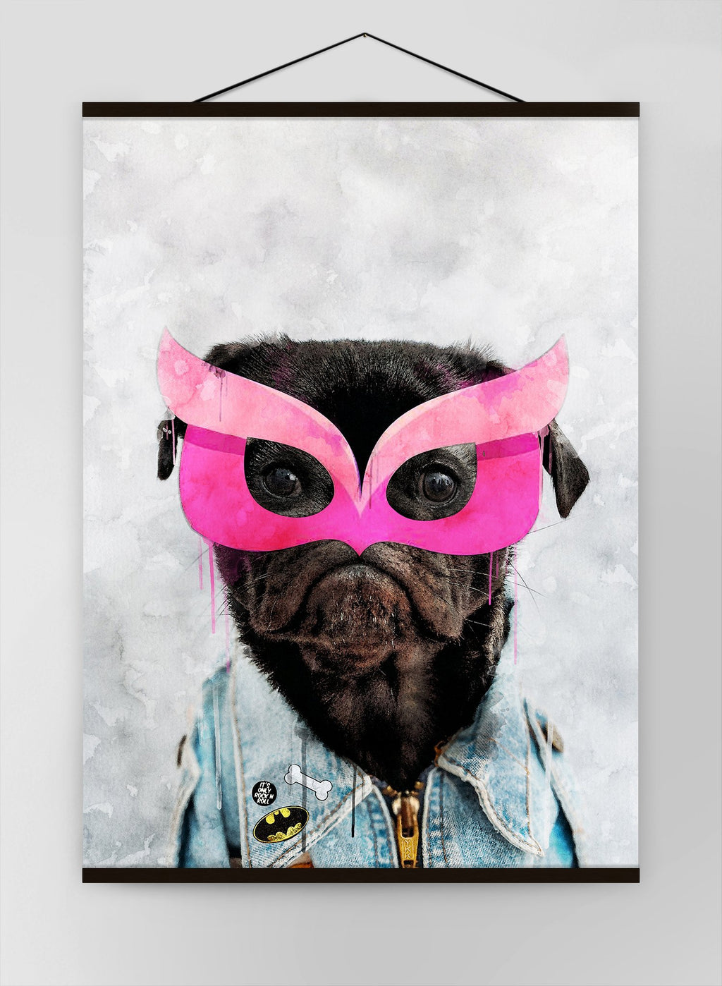 Super Pug Puppy Little Heroes Animal Canvas