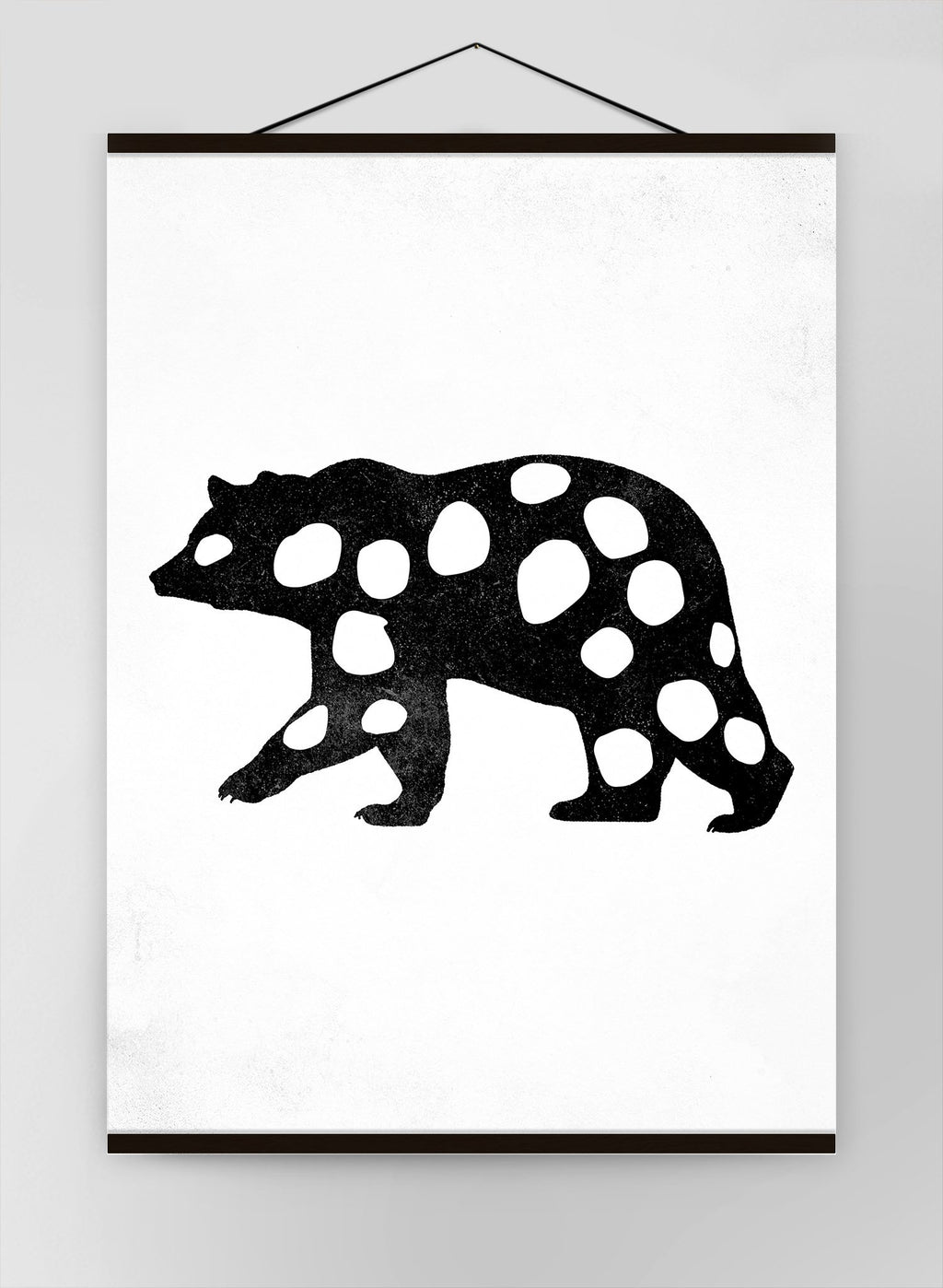 Bear Silhouette Polkadot Canvas