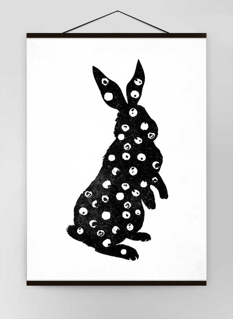 Bunny Rabbit Silhouette Polkadot Canvas