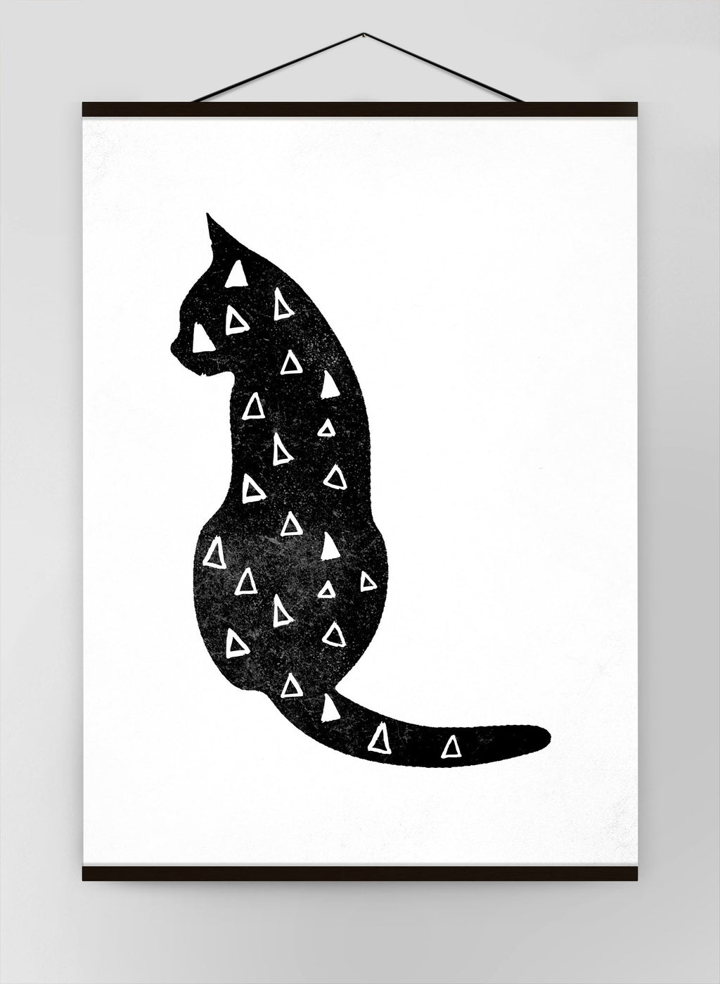 Cat Silhouette Triangles Canvas