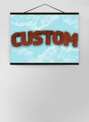 Brown Fur Style Blue Sky Personalised Name Canvas