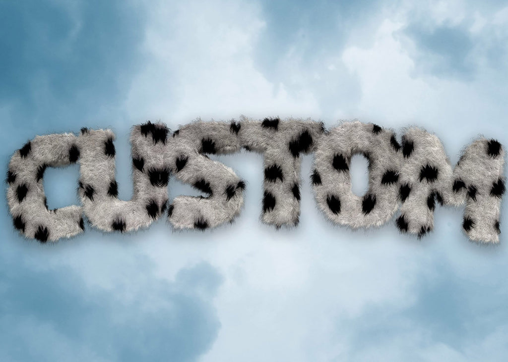 Dalmation Fur Style Blue Sky Personalised Name Print