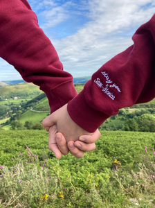 'Missing You Hoodie' Embroidered in Cardinal Red (Couples Package)
