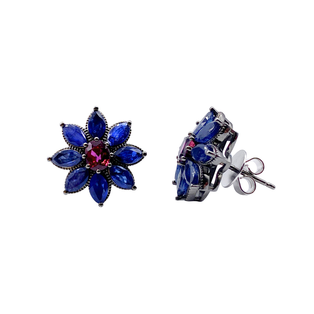 Marquise Blue Sapphire and Oval Ruby Fiore Earrings