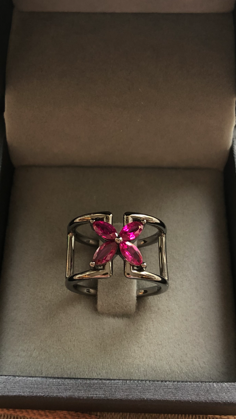Marquise Ruby Mariposa Ring