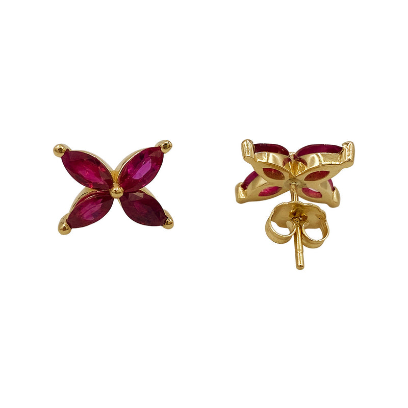 Marquise Ruby Mariposa Studs Large Size