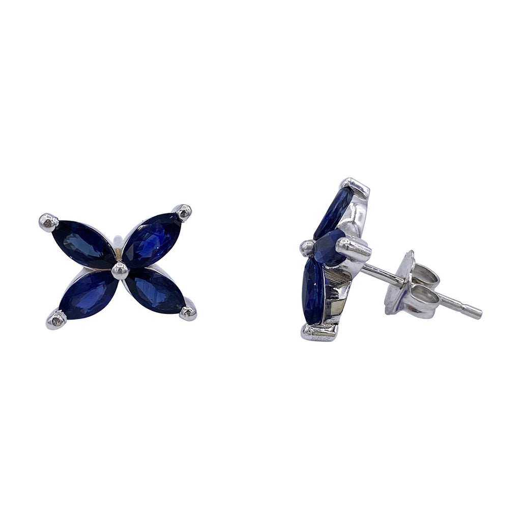 Marquise Blue Sapphire Mariposa Studs Large Size