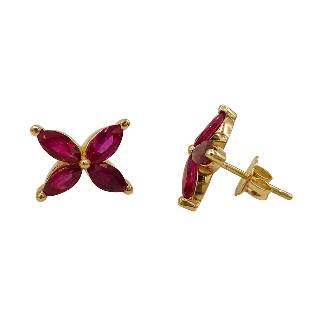 Marquise Ruby Mariposa Studs Small Size