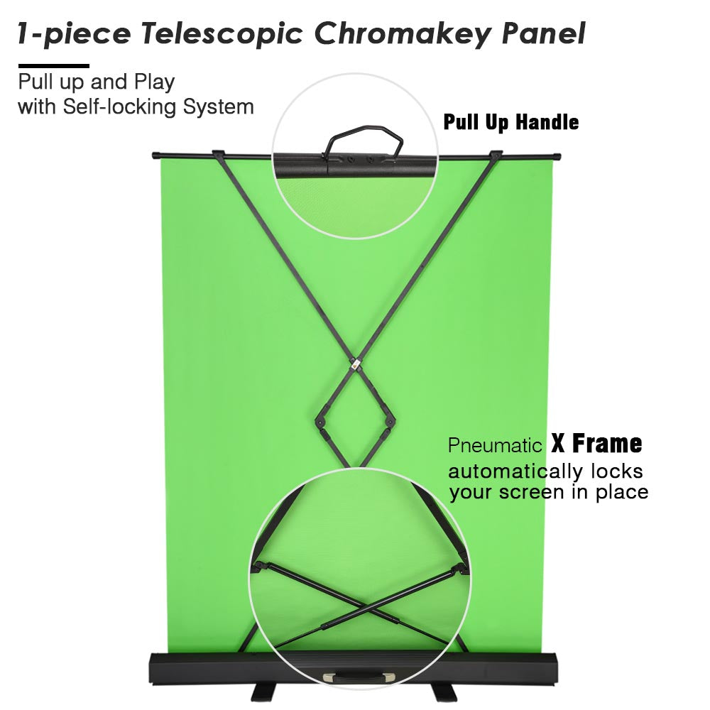 InstaHibit Green Screen Chromakey Backdrop Collapsible Floorstand