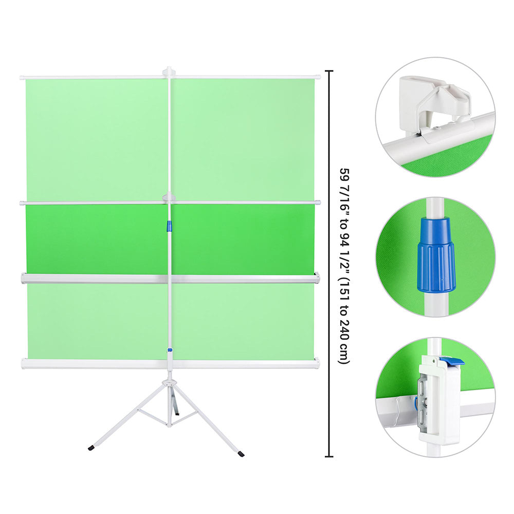 Retractable Green Screen Chromakey Backdrop with Stand 6'x6'