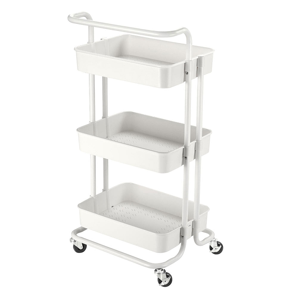 Aquaterior 3-Tier Metal Utility Cart Storage Trolley 34x17x14in