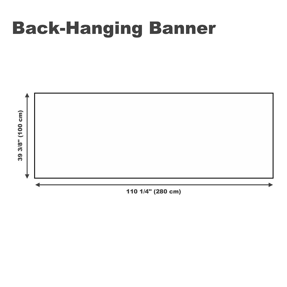 Custom Hanging Back Banner Printing Graphic Logo Color Size
