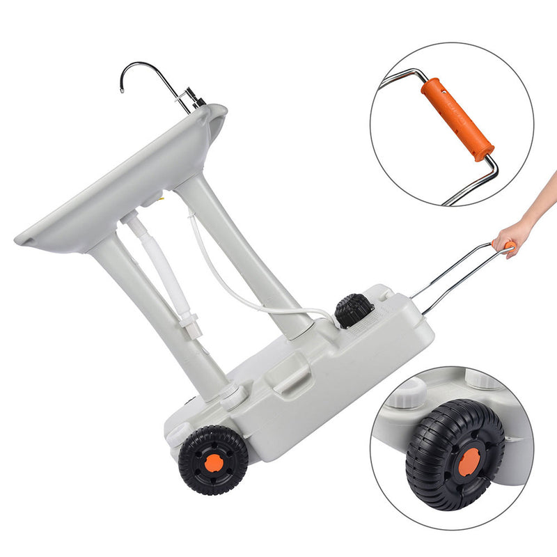 Foot Pump Hand Wash Station with Wheels 8 gal
