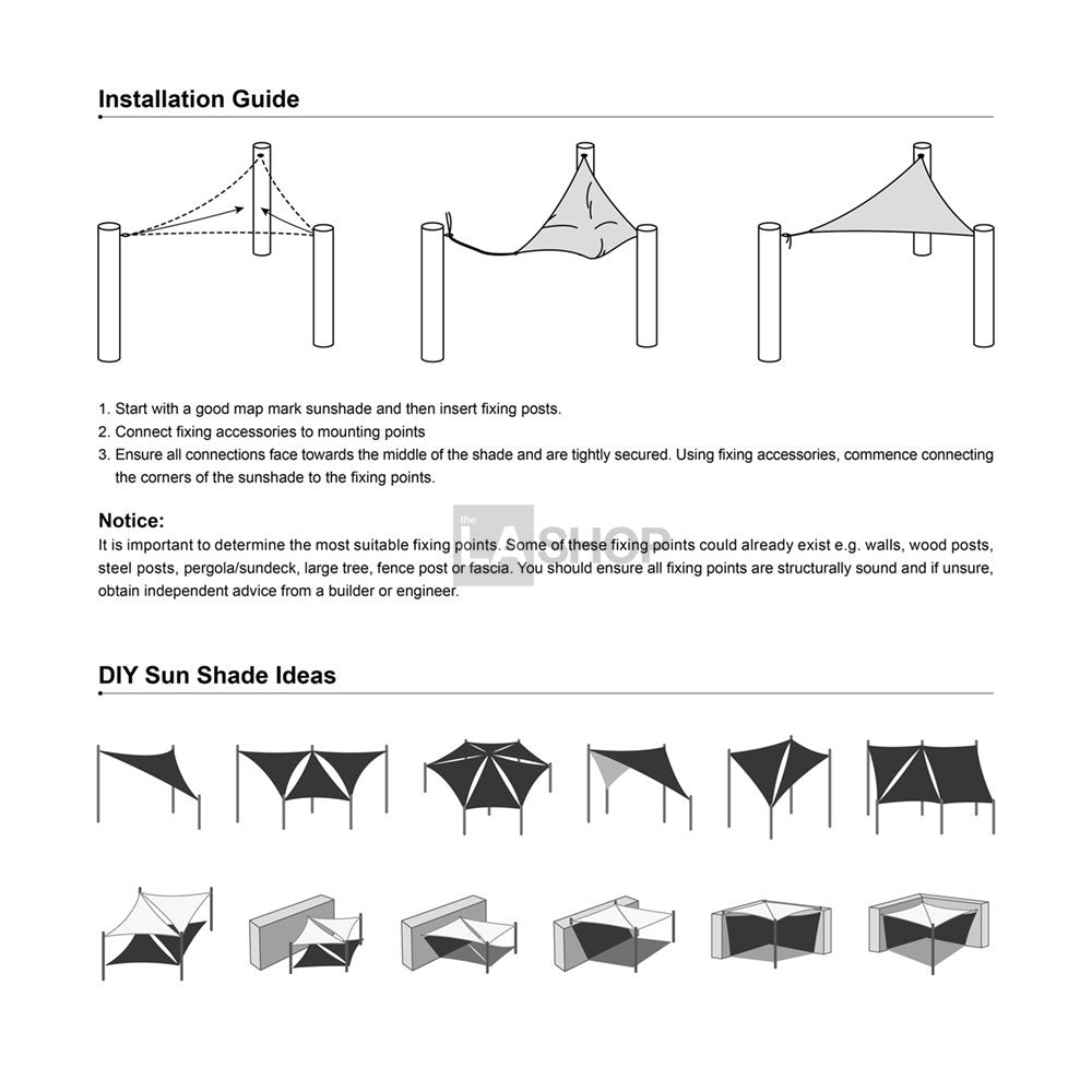 Square Sun Sail Patio Deck Shade Sail 12x12