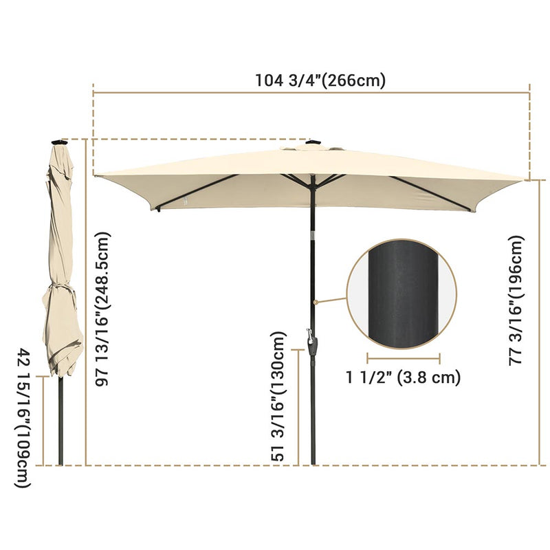 Rectangular Solar Patio Umbrella Light Bulb Tilt 10x6.5ft 6-Rib