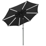 Solar Patio Umbrella with Light Tube Tilt Metal 9ft 8-Rib