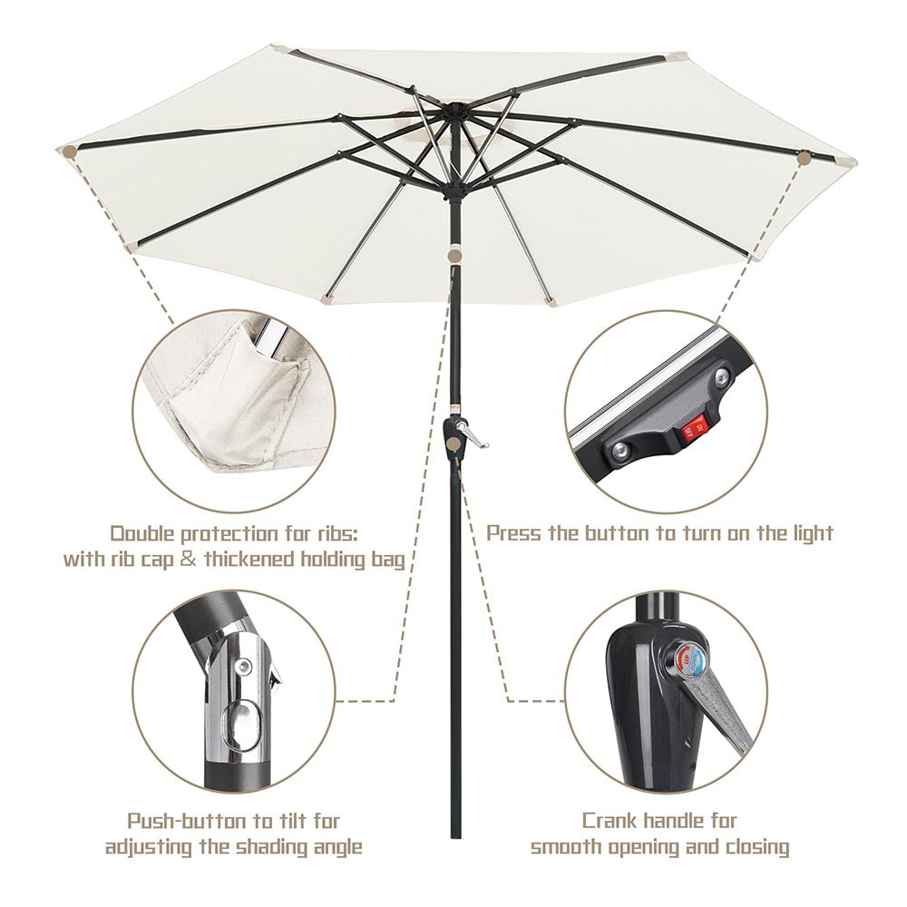 Solar Patio Umbrella with Light Tubes Tilt Metal 9ft 8-Rib