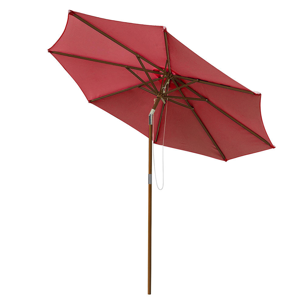Patio Umbrella Tilt Wooden 9ft 8-Rib