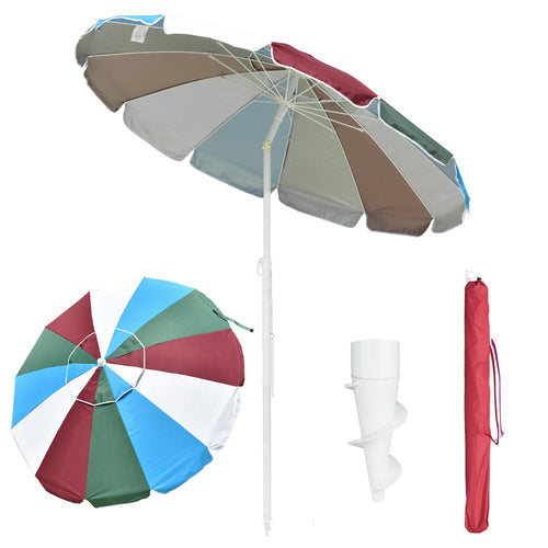Beach Umbrella w/ Sand Anchor Rainbow 6ft Tilt