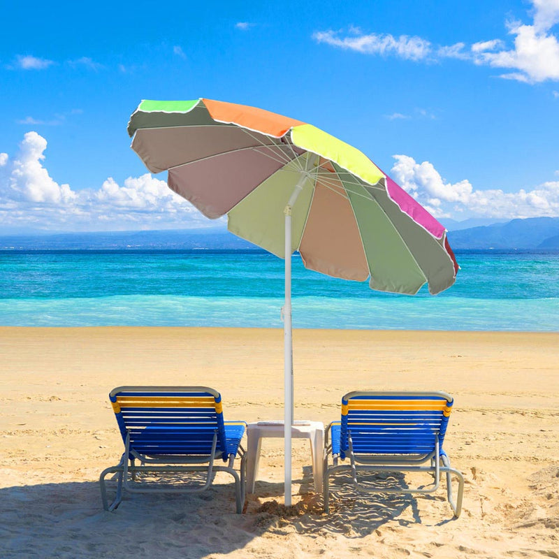 Beach Umbrella w/ Sand Anchor Rainbow 6ft Tilt 12-Rib