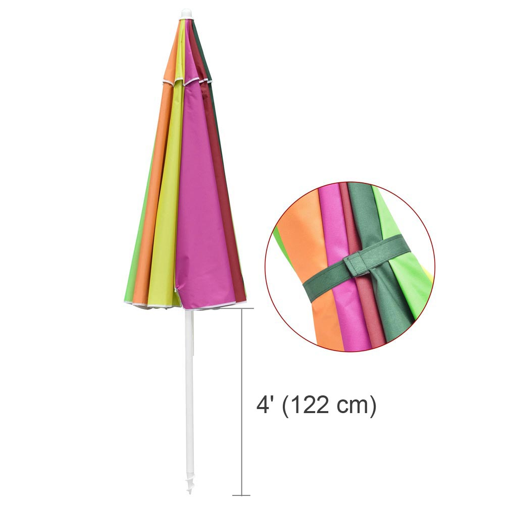 Beach Umbrella w/ Sand Anchor Rainbow 8ft Tilt 12-Rib