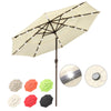 Solar Patio Umbrella w/ Light Bulbs Tilt 3-Tiered 9ft 8-Rib