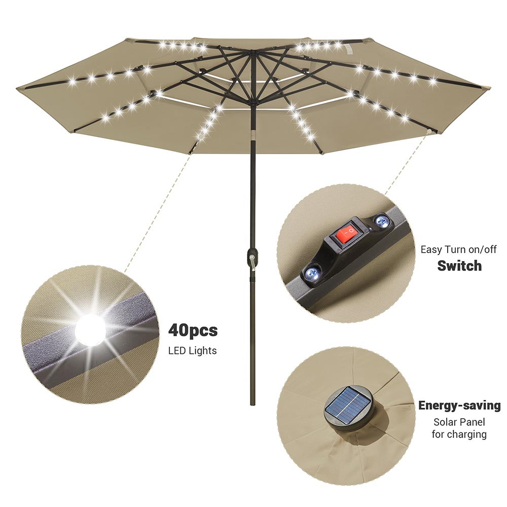 Solar Patio Umbrella w/ Light Bulbs Tilt 3-Tiered 11ft 8-Rib