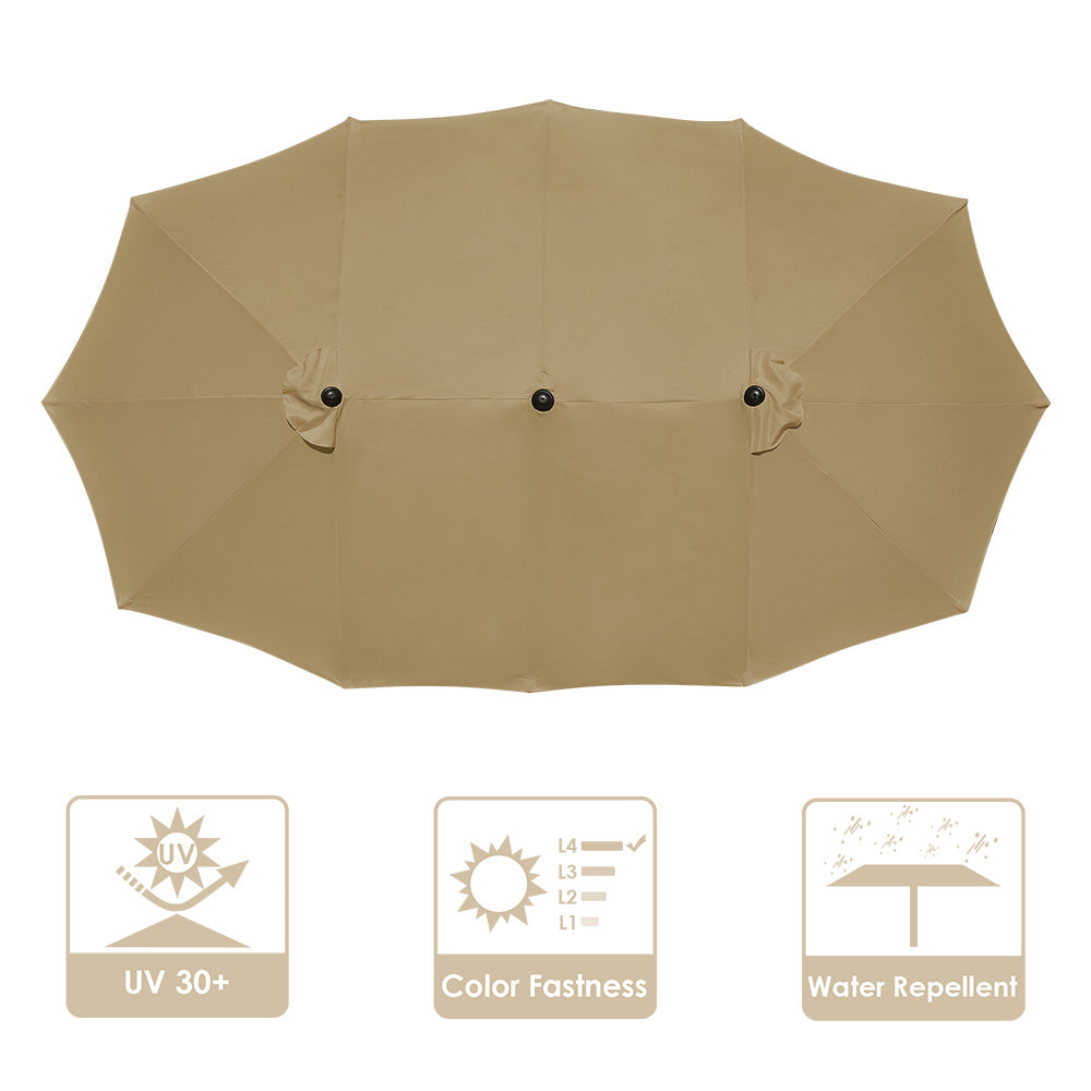Rectangular Patio Umbrella Canopy 15x9ft 12-Rib