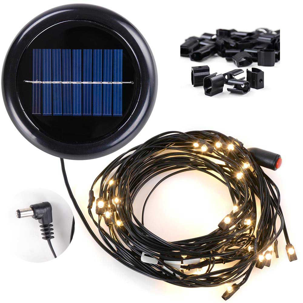 Solar String Lights for Metal Patio Umbrella 8ft/9ft 8-Rib