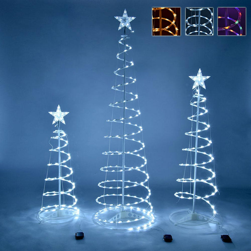 3ct Lighted Spiral Xmas Trees Battery Powered 6ft 4ft 3ft