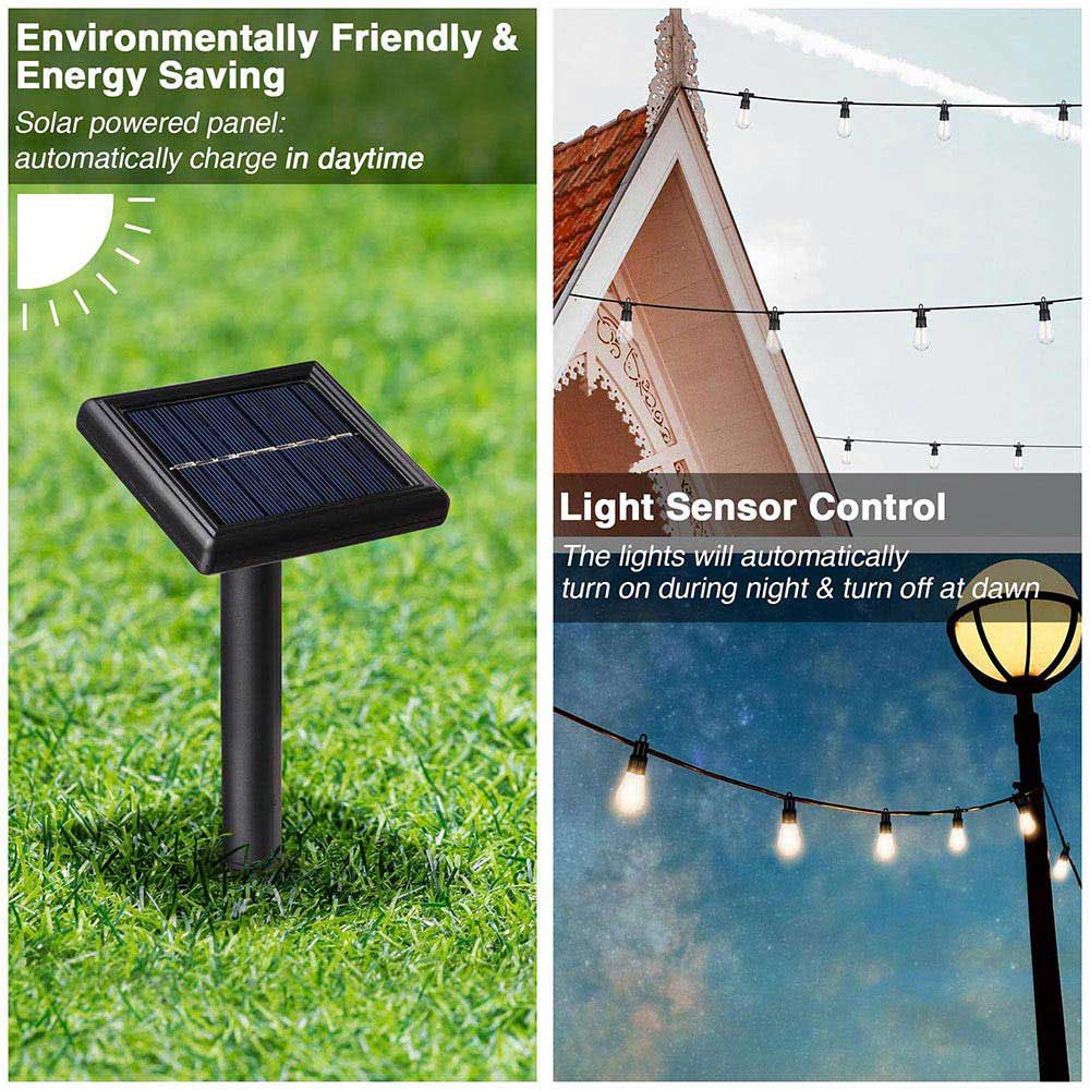 Outdoor String Light with Bulbs 48 ft Light Sensor Control