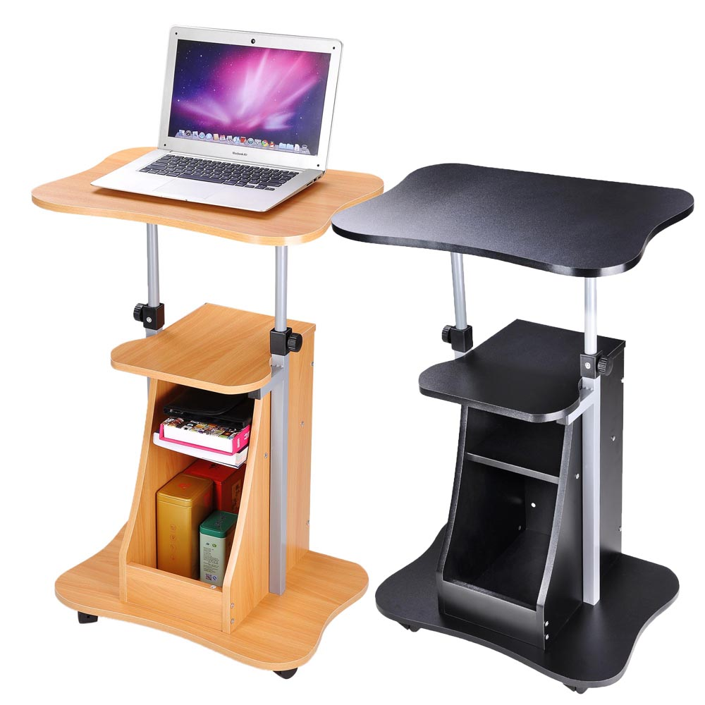 Adjustable Mobile Laptop Cart with Storage (Preorder)